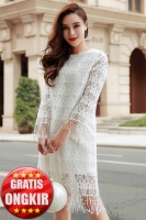 Dress Cantik Wanita Korea - WHITE MANGO LACE DRESS