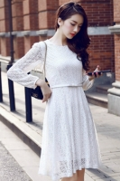 DRESS LACE KOREA -White Lace Korean Dress