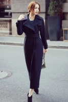 SUPER LONG COAT WANITA KOREA - Navy Trendy Coat