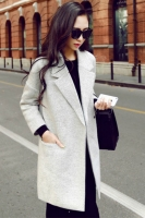 JAKET MUSIM DINGIN KOREA - Gray Long Coat