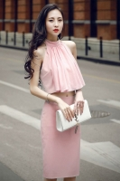 DRESS CANTIK KOREA - Pink 2Pcs Korean Dress