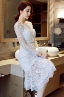 LACE DRESS KOREA -White Lace Korean Dress
