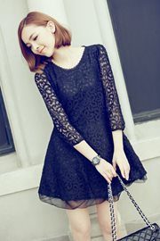 BAJU IMPORT KOREA STYLE - Black Elegant Lace dress