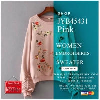 SWEATER RAJUT IMPORT BIG SIZE - Pink Embroidered Sweater