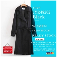 TRENCH COAT WANITA KOREA STYLE - Black Women Trench Coat