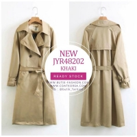 TRENCH COAT WANITA KOREA STYLE - Khaki Women Trench Coat
