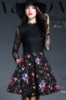 BLACK LACE DRESS - Dress cantik FLOWER LACE