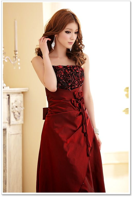 Baju Pesta Korea Red Satin Long Dress