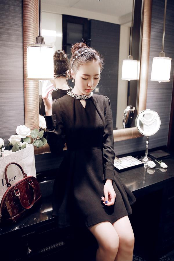 DRESS CANTIK KOREA - BAJU KOREA ASLI RJ STORY - DRESS WANITA - R1791Black