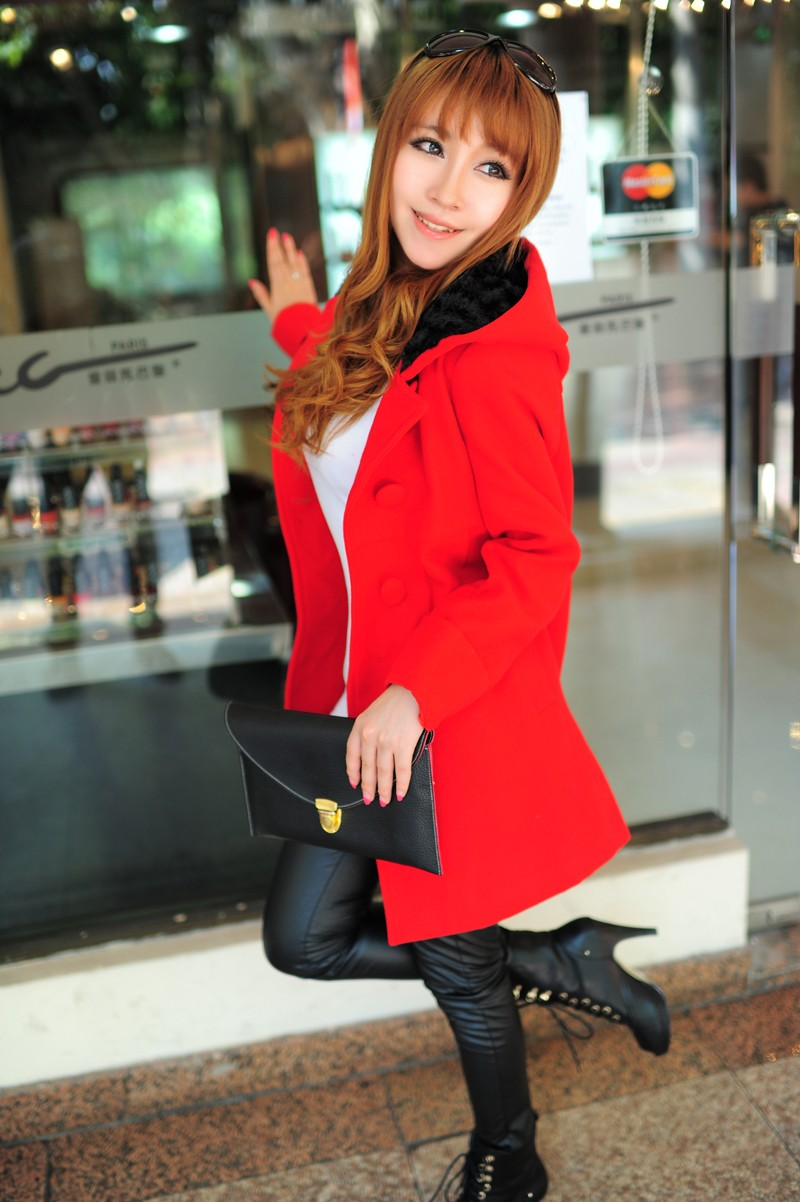LONG COAT IMPORT KOREA - BAJU KOREA ONLINE - JYW310RedOrange